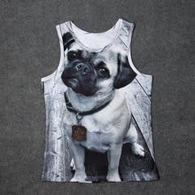 2017 Portrait of a Pug 3D Print Tank Tops Kids Men Undershirt teen Cotton Tee Loose Unisex Garment
