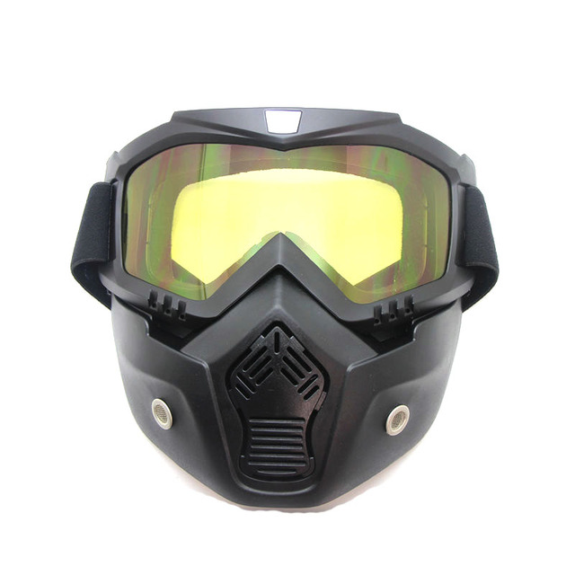 Top Appeal Products Yellow Motocross Goggles Detachable Mask Mouth Filter For Open Face Vintage Motorcycle Half Helmet