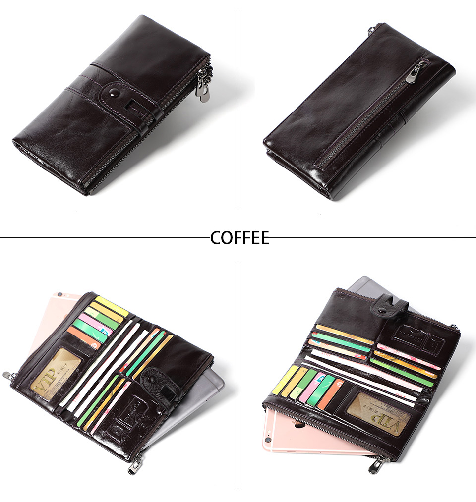 genuine Leather Women Purses Long Zipper Ladies wallet (12)