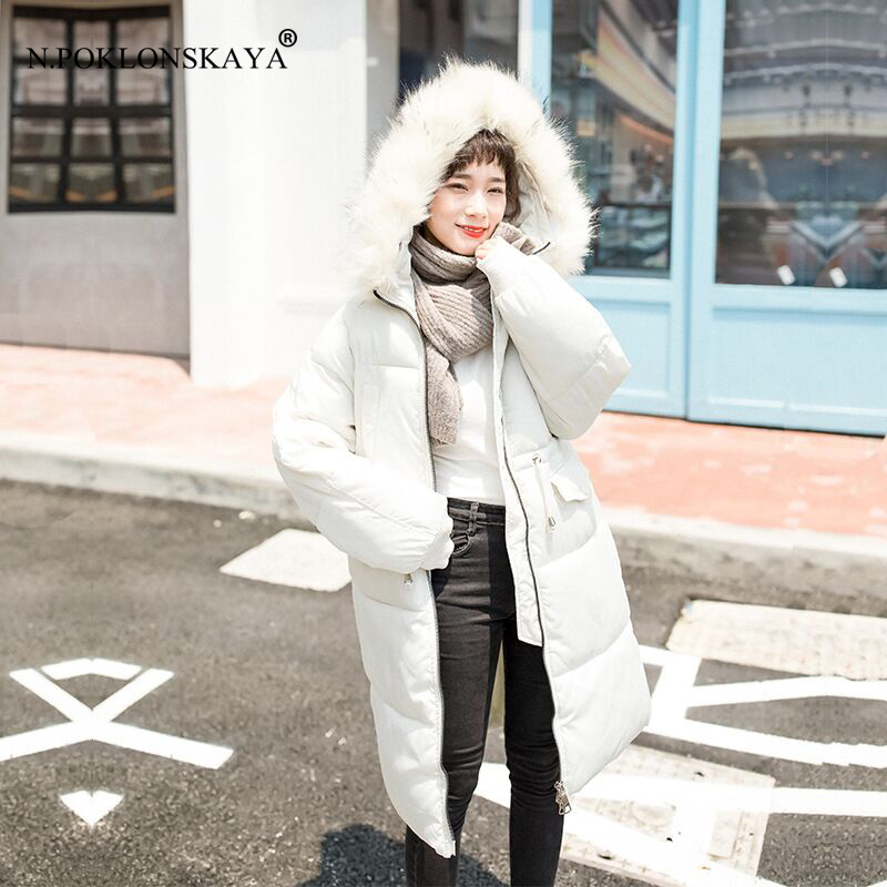 N.POKLONSKAYA High Quality Women Winter Coats Warm Parka Fur Hooded Jackets Thick Female Overcoat Long Cotton Coat Outerwear