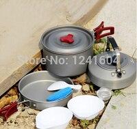 Vendite fuoco maple 2-3 persone pot set di campeggio di cottura impostato camping pentolame e utensili per cucinare picnic all'aperto padella/calderone/tea pot fmc-720g