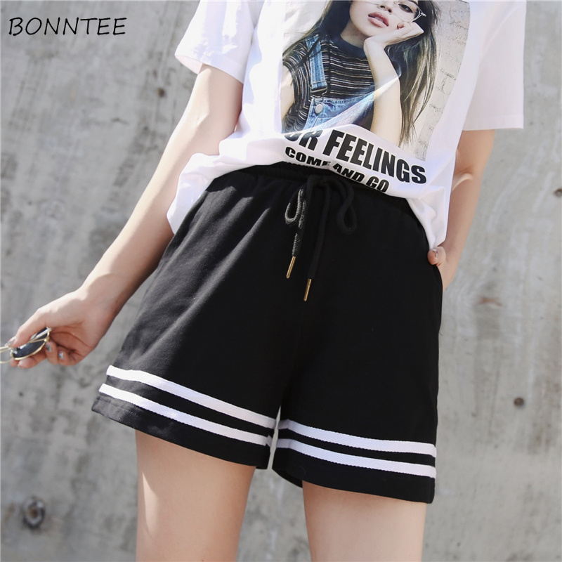 Shorts Women Sport Summer Trendy Korean Loose Students Chic Womens All-match Run Outwear Casual Breathable Patchwork Drawstring