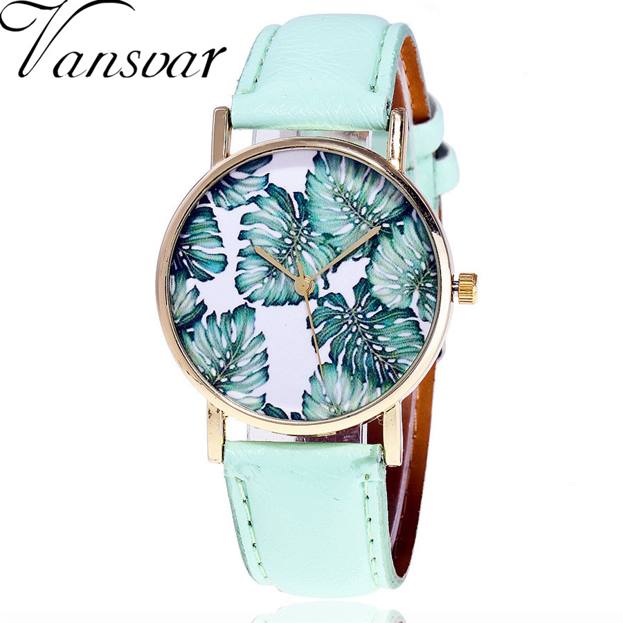 Vansvar Brand Fashion Tropical Leaf Watch Casual Vintage Leather Ladies Women Palm Leaves Quartz Watch Relogio Feminino V52 vansvar brand fashion casual relogio feminino vintage leather women quartz wrist watch gift clock drop shipping 1903