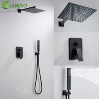LANGYO Brass Square Black Shower Set Bathroom 12inch Rain Shower Head Faucet Ceiling Shower Arm Diverter Mixer Handheld Shower