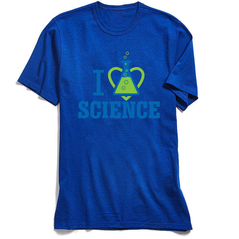 New Coming Men's Tops Tees I LOVE SCIENCE Summer T-Shirt 100% Cotton Short Sleeve Unique Tops Tees Round Neck Free Shipping I LOVE SCIENCE blue