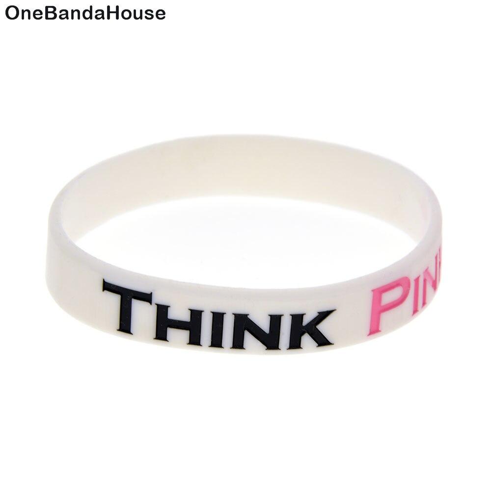 Náramek na rakovinu prsu OneBandaHouse 1PC Think Pink Pink Silikon Rubber Wristbands White
