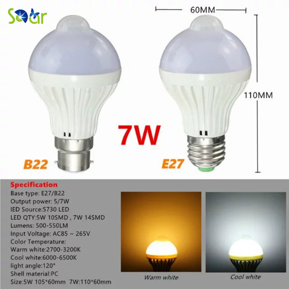 5PCS AC85-265V E27 B22 7W LED Bulb PIR Motion Sensor Light Warm White/White Smart Lamp Passway Stair Lighting Indoor Lighting e cap aluminum 16v 22 2200uf electrolytic capacitors pack for diy project white 9 x 10 pcs