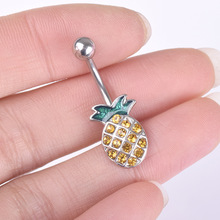 Lovely Yellow Pineapple Zircon Belly Button Ring Surgical Steel Lady Navel Piercing Belly Piercing Sexy Women Body Jewelry цена и фото