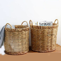 Round grasshopper handle storage bucket grass rope braided towel clothing storage debris finishing garbage basket