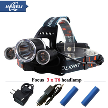 USB jack 10000 lumens 3T6 led headlamp CREE XML T6 headlights waterproof head light 18650 Rechargeable battery Front Flashlight