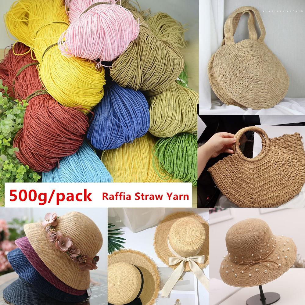 500 g/lot de fil de paille de raphia fil de Crochet pour bricolage à tricoter été chapeau de paille sacs à main coussins paniers matériel à tricoter à la main fil