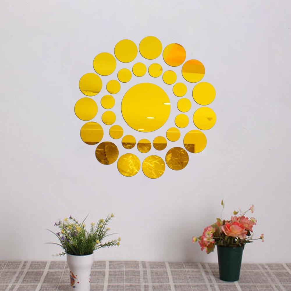 Wallpaper 31X Round Mirror Wall Sticker Acrylic Surface Decal DIY ...