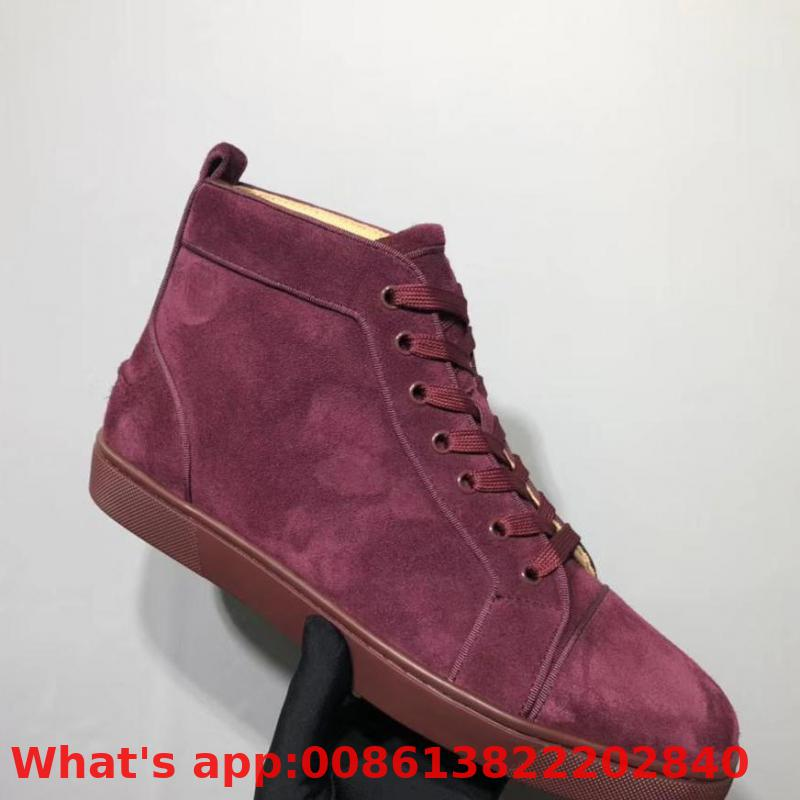 Fashion High Top Leisure Shoe Lace Up Red Wine Suede Leather Rivet Red Bottom For Man Shoes Sneakers Casual Flat 2019(China)