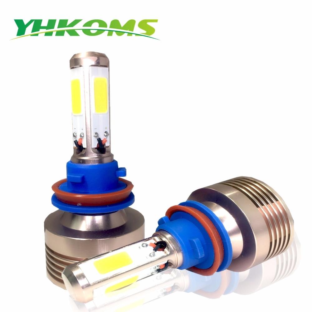 YHKOMS  H8 H11 LED H1 H3 H4 H7 H13 880 881 H27 9005 9006 9004 9006 Auto LED Bulb 4 Sides COB 80W 8000LM Car Headlamp 6000K White 2x car led headlight 12v 24v 60w 7200lm 6000k light auto headlamp bulb kit h1 h3 h4 h7 8 9 h11 h13 9004 9005 9006 9007 880 881