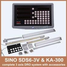 Бесплатная доставка полный набор Сино 3 оси дро цифровой дисплей с 3 шт. ka-300 линейный стеклянная шкала