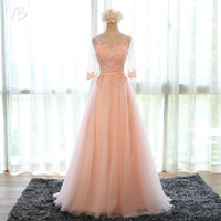 A line with Sleeves Tulle Lace Evening Dresses 2019 Elegant Formal Prom Gown Dress Wine Red Green Blue Grey Pink Many Color EN06