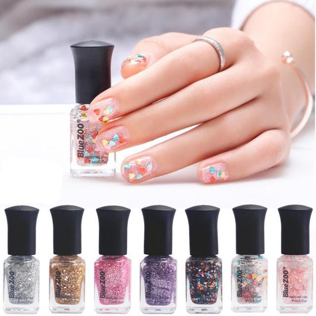 1pc 6ml Nail Polish Sequins Glitter Fingernail Glue Set Color Soak Off Long Lasting Gel