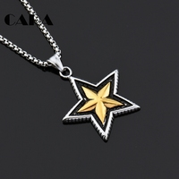 CARA NEW Arrival Vintage 5 Pointed Star Pendant Necklace Unisex 316L Stainless Steel Fashion Long Chain