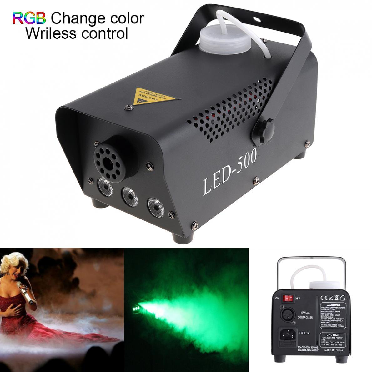 Беспроводной управление светодио дный LED 500 Вт дым машина RGB светодио дный цвет туман машина/светодио дный Professional Fogger/Stage выталкиватель дыма ...