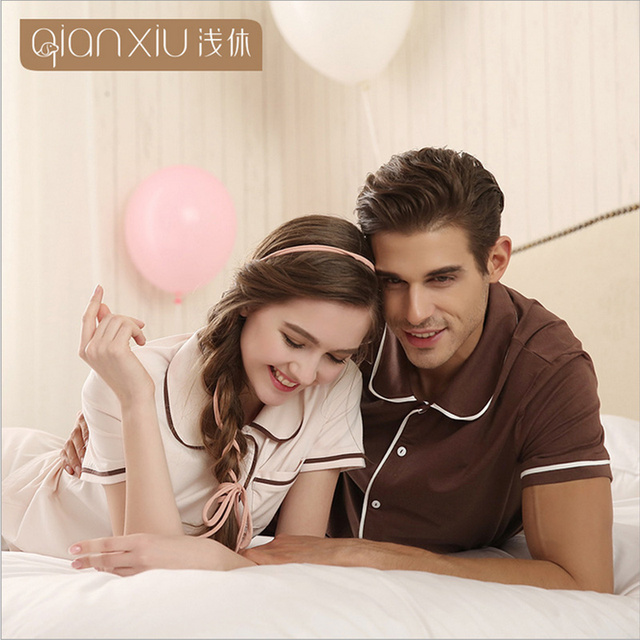 Qianxiu Brand Summer Couple Pajamas Sets Short Sleeve Women Cotton Pyjamas Pijamas Sleepwear Ladies Lounge Shirt & Shorts