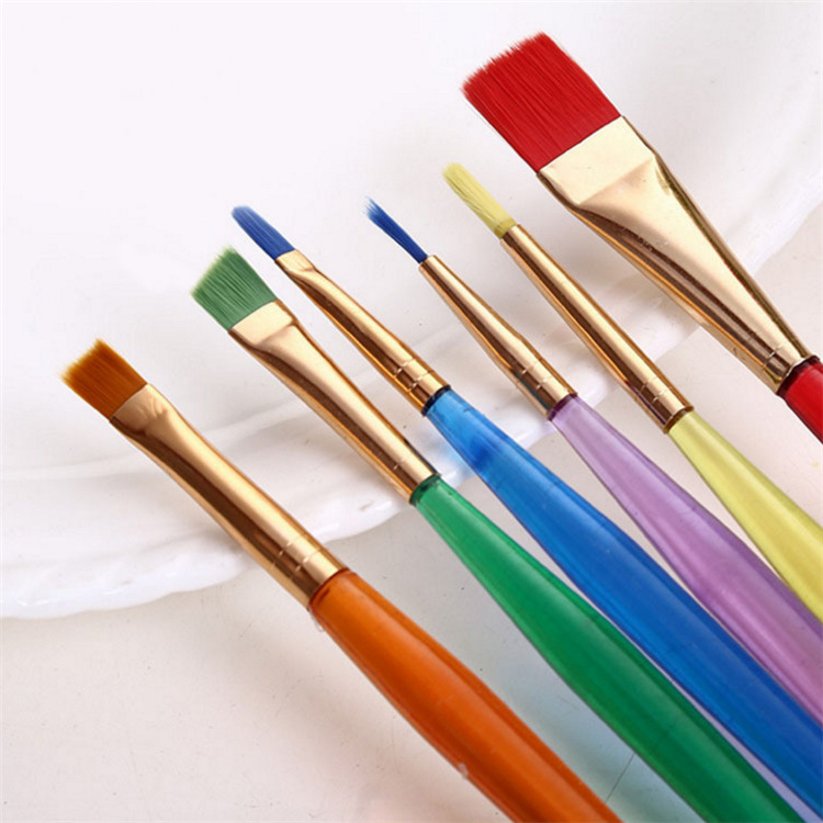 Eval 1 Palette + 6 Painting Brushes Nylon Child Paint Brushes Artist Supplies Watercolor Oil Brush Stationary Painting Supplies