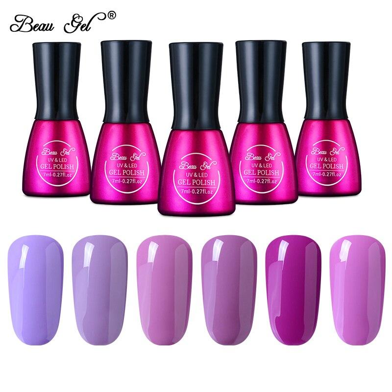 Beau Гель Soak Off UV Гель для ногтей 7 мл гель Лаки для ногтей Долгое УФ гель Полирующие средства чистый Дизайн ногтей фиолетовый серии 12 Цвет лак для ногтей