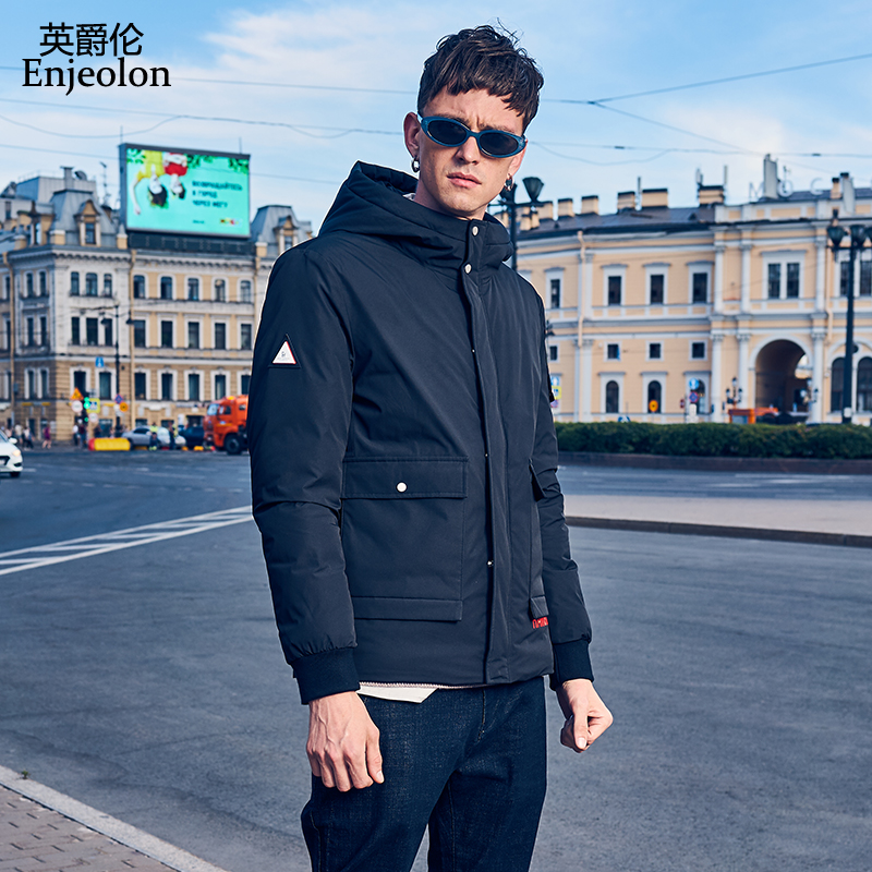 Enjeolon Brand Winter Thick Winter Hoodies Down Jacket Men Hooded Pocket Parka Coat Male Warm Parka Coat 3XL Down Coat YR0137(China)