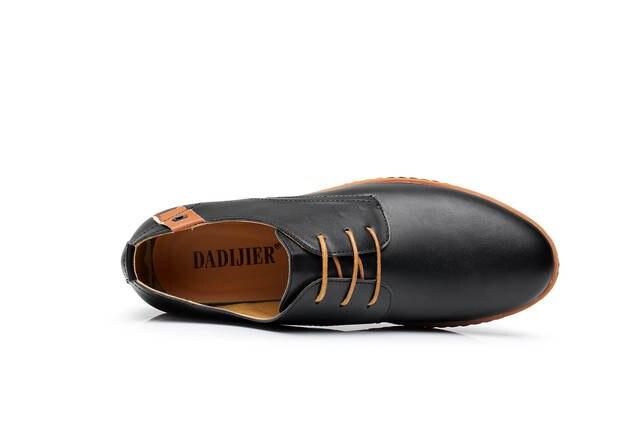 US $19.98 50% OFF|DADIJIER Neue 2017 Männer Leder Schuhe Casual Lace up Schuhe Schwarz Braun Wohnung Günstige Leder Loafers Oxford schuhe ST52 in