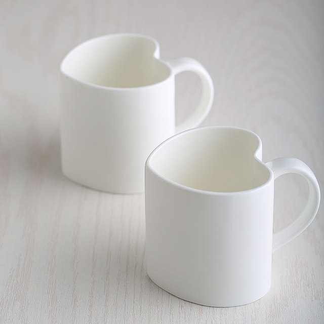 420ml Plain White Bone China Heart Cup Lovers Espresso