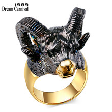 DreamCarnival 1989 Gorgeous Goat Head Design Big Horns Black Gold Color CZ Crystal Red Eyes Lovely Trendy Fashion Rings SR2313(China)