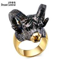 DreamCarnival 1989 Gorgeous Goat Head Design Big Horns Black Gold Color CZ Crystal Red Eyes Lovely Trendy Fashion Rings SR2313