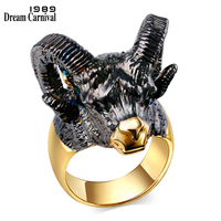 DreamCarnival 1989 Gorgeous Goat Head Design Big Horns Black Gold Color CZ Crystal Red Eyes Lovely Trendy Fashion Rings SR2313