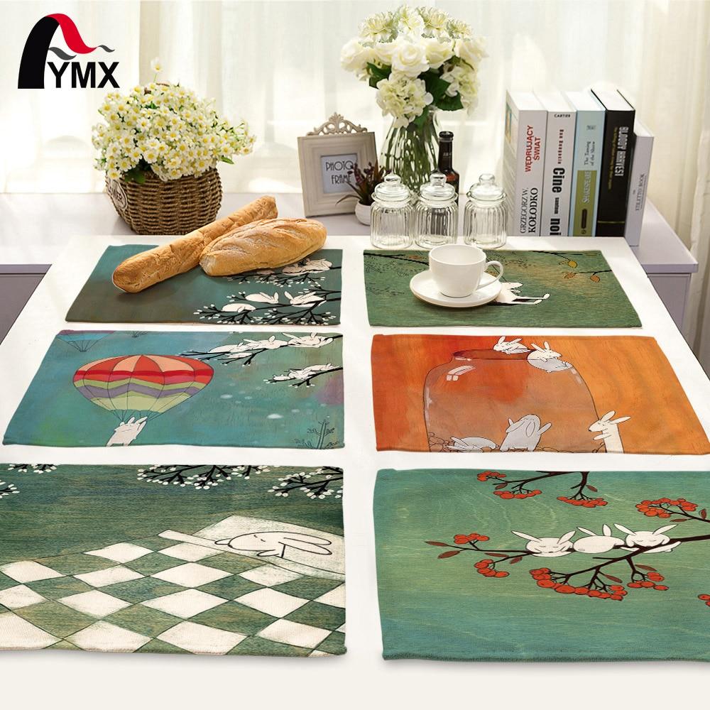 42X32CM Cute Cartoon Rabbit Printed Table Napkins Polyester Dinner Napkins Dish Towel Tea Coffee Table Decor Western Mats