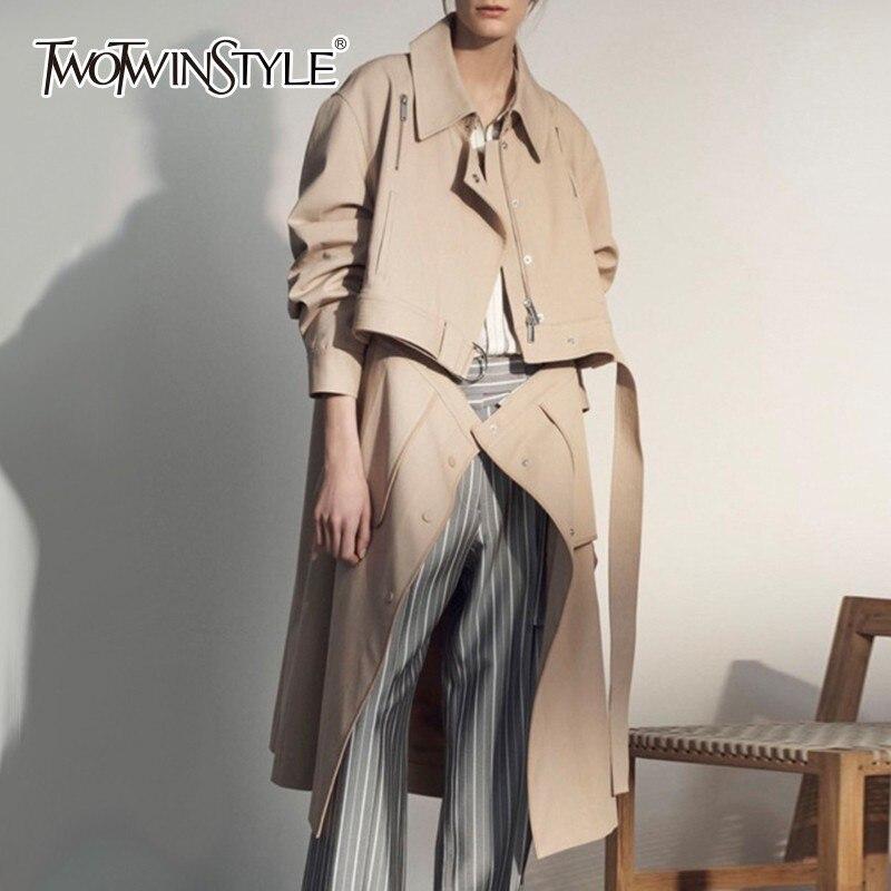TWOTWINSTYLE jesień odpinany trencz dla kobiet dwa nosić wiatrówka wysokiej talii z paskiem płaszcze ubrania damskie moda nowy w Trencze od Odzież damska na  Grupa 2