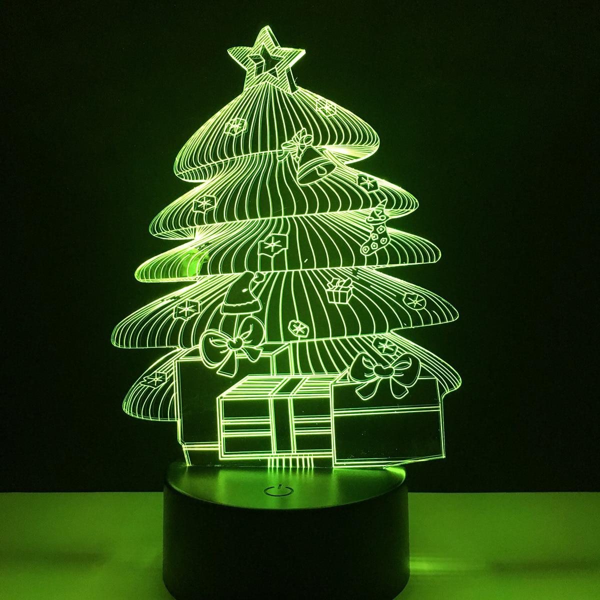 Christmas Tree 3D Holiday Light LED Lamp Home Room Decoracion 7 ...