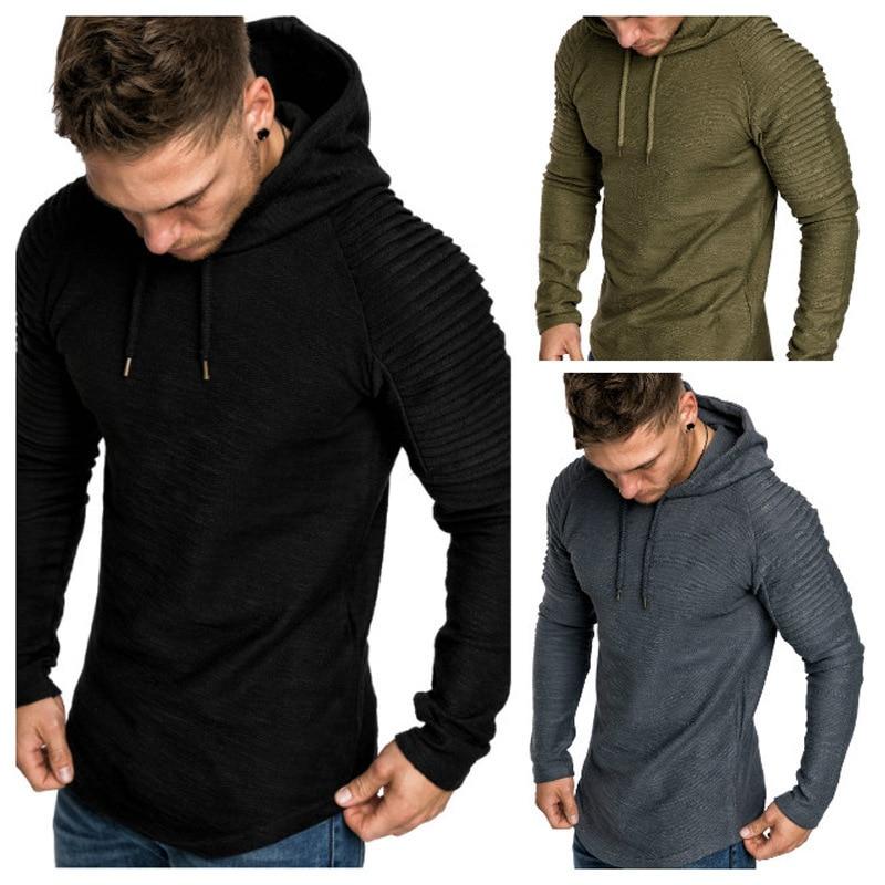 Moomphya Ragan sleeve hooded men t shirt Pleated sleeve t-shirt men Longline curved hem Hip hop slim tshirt streetwear tops 2