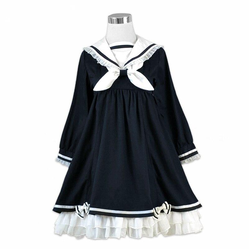 Preppy Style Girl Cute Lolita Bow Black Ruffles Long Sleeve Sailor Navy Collar Women Dresses Autumn