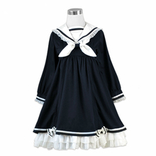 Preppy Style Girl Cute Lolita Bow Black Ruffles Long Sleeve Sailor Navy Collar Women Dresses Autumn