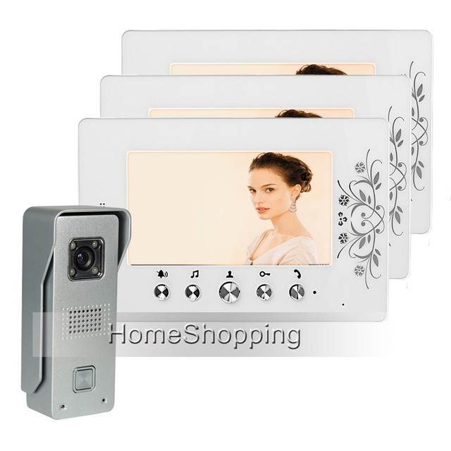 """FREE SHIPPING New Wired 7"""" TFT LCD Video Door Phone Intercom System With 3 White Screen Waterproof Door bell Camera In Stock"""