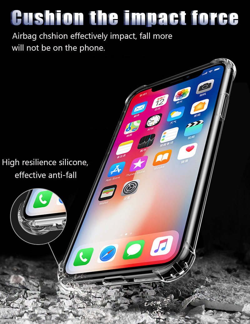 KIPX1046_12_Luxury Shockproof Transparent Cases for iPhone XS XR XS Max Soft Silicone Phone Case for iPhone 5S SE 6S 7 8 Plus Back Cover