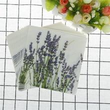 20 unids/bolsa para decoración de cócteles y fiestas de bodas decoupage vintage, servilletas de papel con estampado de flores de lavanda púrpura