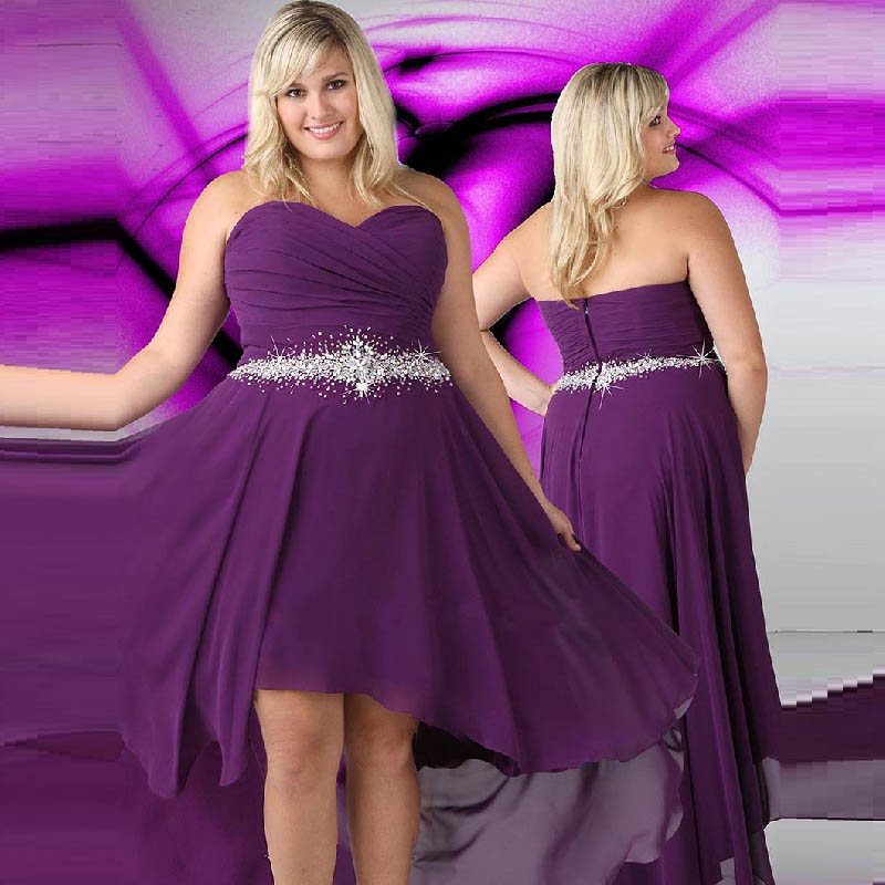 Long Prom Dresses 2015 Sweetheart Purple Plus Size Evening Dress ...