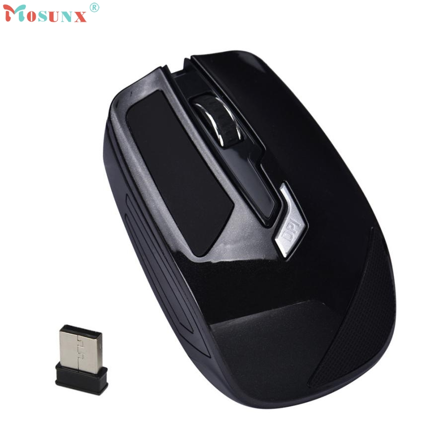 Adroit Black Color 4 Button 2.4GHz Wireless Mouse Cordless 1600DPI Optical Gaming Mice Muis For PC Laptop 19S61119 drop shipping