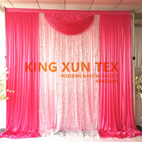 10ft x 10ft Ice Silk Wedding Backdrop Curtain With Sequin Fabric Stage Background Include Backdrop Pipe Stand Stent