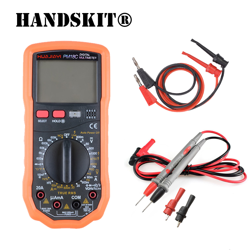 US $19 27 25% OFF|PM18C Digital Multimeter AC/DC Voltage Current Resistance  Capacitance Frequency Temperature hFE NCV Live Line Tester AUTO power-in