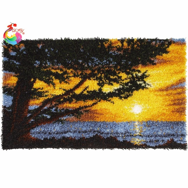 Diy Mat Needlework Kit Latch Hook Rug Unfinished Crocheting Yarn Cushion Embroidery Carpet Sunrise