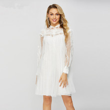 2019 Summer loose holiday style lace dress Korean sexy Polka dot mesh A304