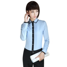 Casual Women Blouse Female Elegant Blue Slim Fit Long sleeves Shirt Ladies Tops Office Ladies OL New Style Fashion Work wear
