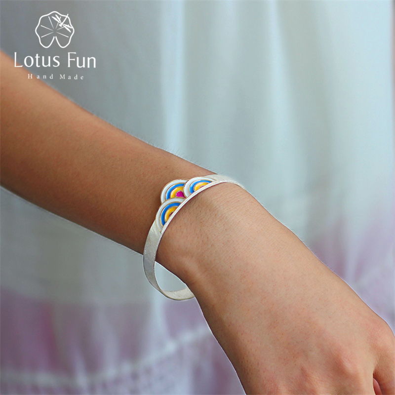 Lotus Plaisir Réel 925 Sterling Argent Creative Designer Main Beaux Bijoux Uniques Ethniques Rosy Nuages De Mode Bracelet pour les Femmes