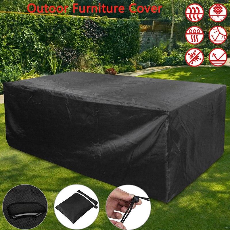 Juego de protección para sofá de mimbre Oxford resistente al agua y a la lluvia, disponible en 10 tamaños, para jardín, Patio, lluvia, nieve, color negro